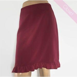 French Connection Burgundy Skirt w/Ruffle Hem